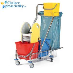 Upratovací vozík CLASIC 5+ držiak vreca na odpad + košík s vedrom 6L