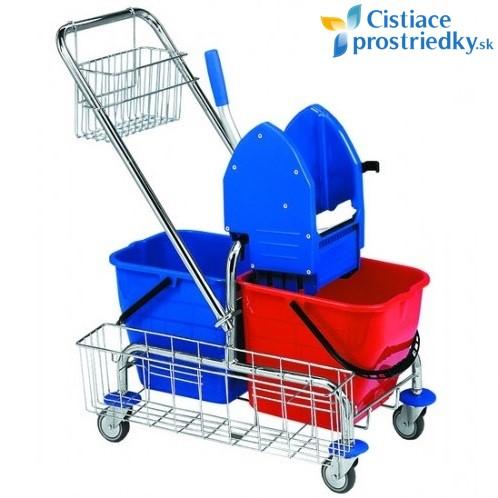 Upratovací vozík CLASIC 2x17L + košík na rúčku + košík bočný